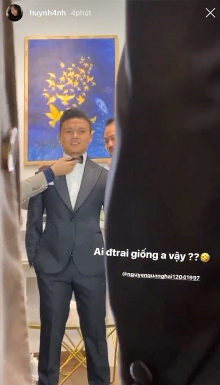 Huỳnh Anh khoe ảnh thử vest cùng Quang Hải,